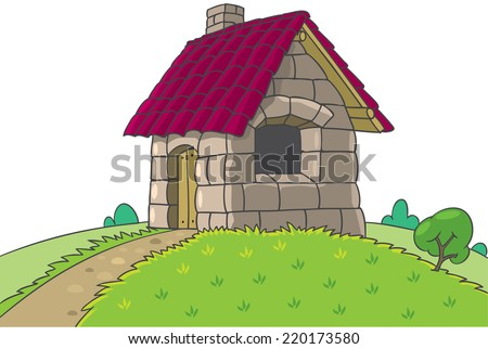 Fairy house of bricks, tile and stones from Three Little Pigs fairy tale - stock vector