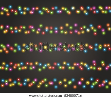 fairy lights for festive decoration realistic luminous bulbs colourful glowing christmas garland on dark - Light For Christmas