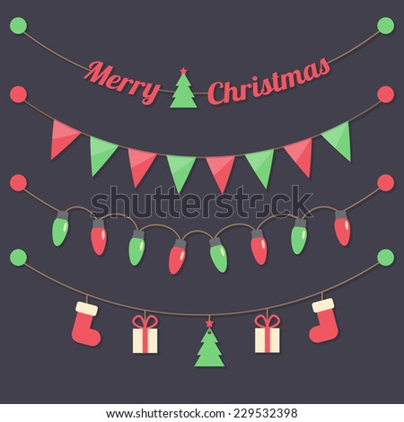 fairy party Christmas light bulbs, Christmas tree, gift boxes, sock, red and green flags hanging on dark background. vector. - stock vector