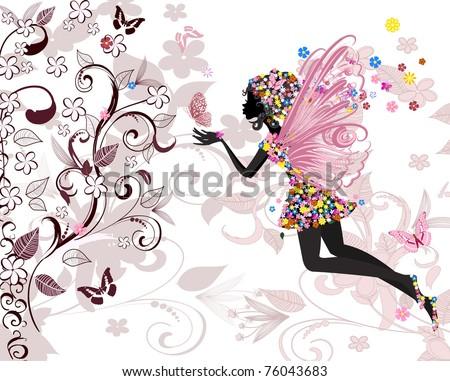 fairy pattern - stock vector