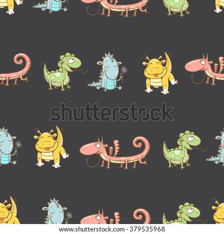 Fairy seamless pattern with cute cartoon dragons on dark  background. Vector image. - stock vector