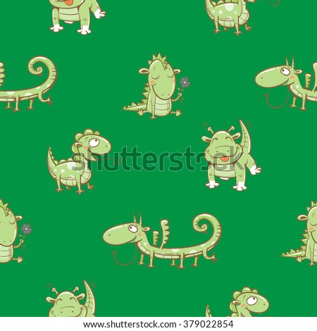 Fairy seamless pattern with cute cartoon dragons on green  background. Vector image. - stock vector