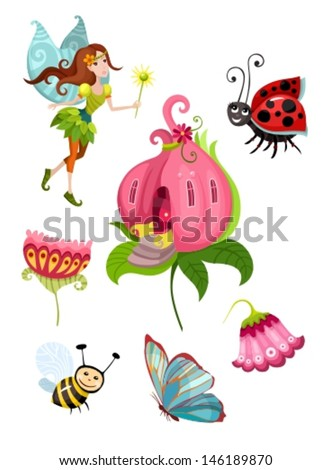 fairy set  - stock vector