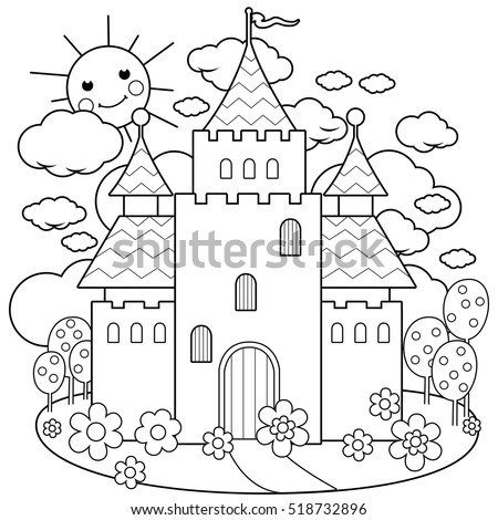 Fairy Tale Castle Flowers Coloring Page Stock Vector 518732896 ...