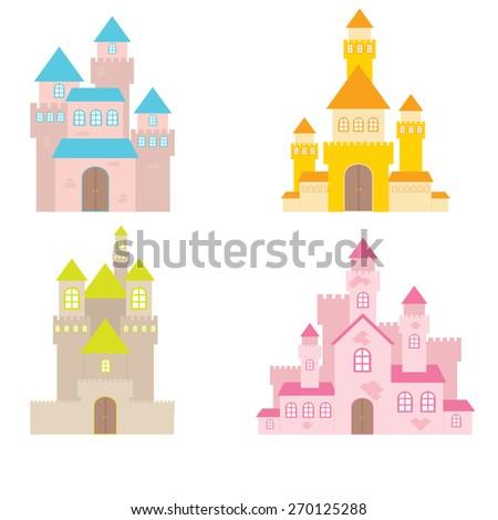 Fairy Tale castle illustration - stock vector