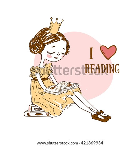 Fairy Tale Clever Princess Sitting on Stack of Books and Reading. Funny hand drawn cute illustration for children education.  I love reading. Literacy Day. Vector artwork for a card or t-shirt print. - stock vector