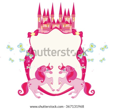 Fairy tale frame with pink magic castle and unicorns