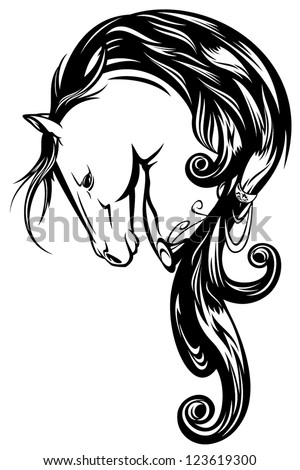 fairy tale horse with long mane - black and white vector outline - stock vector
