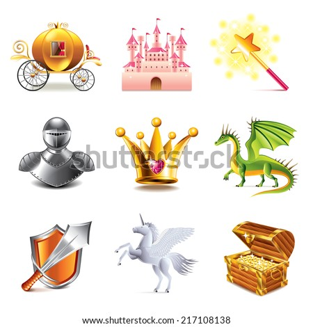 Fairy tale icons photo-realistic vector set - stock vector
