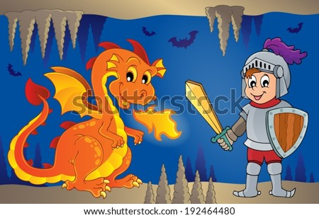 Fairy tale image with dragon 6 - eps10 vector illustration.