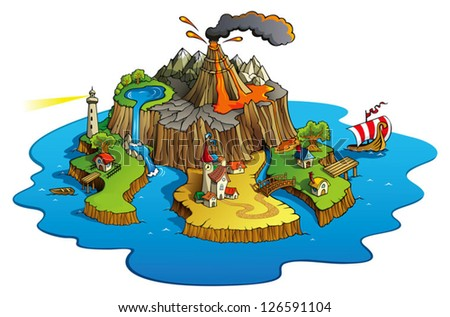 Fairy tale landscape, wonder island with town and villages, cartoon vector illustration - stock vector