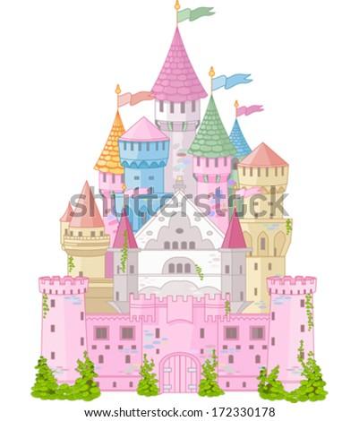 Fairy Tale magic Princess Castle   - stock vector