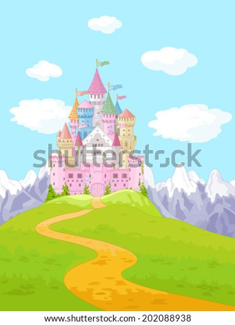Fairy Tale magic Princess Castle Landscape  - stock vector