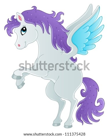 Fairy tale pegasus theme image 1 - vector illustration. - stock vector