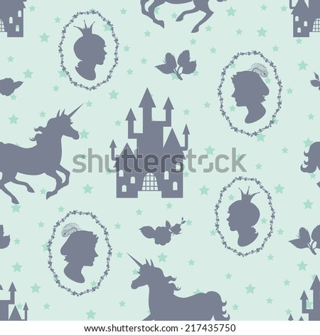Fairy tale seamless background. Prince, princess, and unicorn silhouettes - stock vector