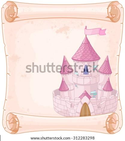 Fairy tale theme parchment castle design  - stock vector