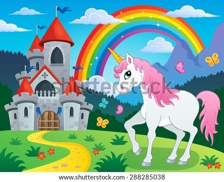 Fairy tale unicorn theme image 4 - eps10 vector illustration. - stock vector