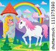 Fairy tale unicorn theme image 3 - vector illustration. - stock photo