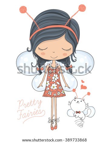 fairy vector/cute girl vector/T-shirt print/Book illustrations for children/Romantic hand drawing poster/cartoon character/For apparel or other uses in vector.