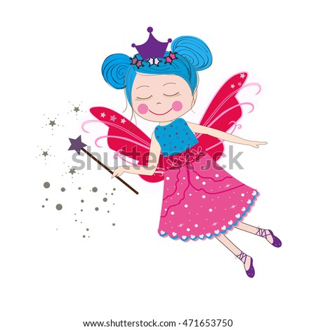 Fairy  with blue hair vector illustration