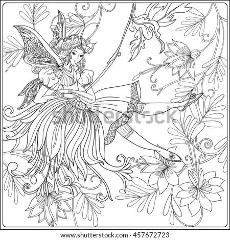 Fairy Butterfly Wings On Swing On Stock Vector 457672723 - Shutterstock