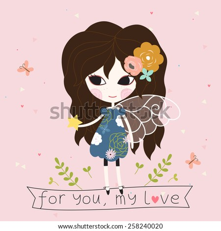 Fairy with star in the hand card. - stock vector