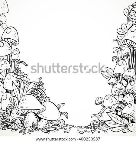 Fairytale decorative graphics mushrooms and flowers in the magic forest. Black and white. Coloring book