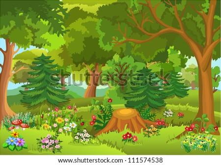 fairytale forest - stock vector