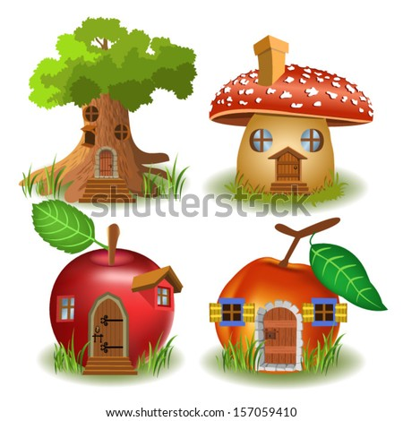 fairytale houses - stock vector