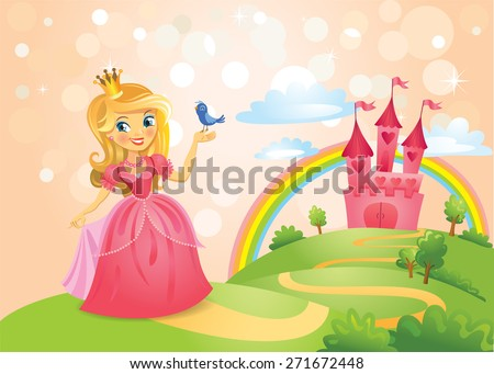 FairyTale landscape, beautiful princess keeping a bird on a hand and the road leading to the castle. Vector illustration - stock vector