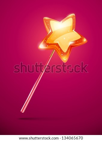 fairytale magic wand with shining star at the end - eps10 vector illustration. - stock vector