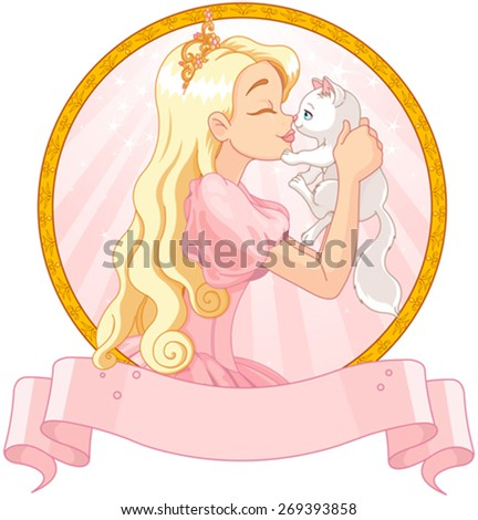 Fairytale Princess is kissing a white cat - stock vector