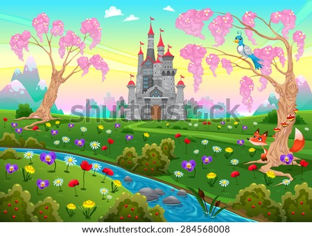 Fairytale scenery with castle. Cartoon vector illustration. - stock vector