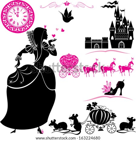 Fairytale Set - silhouettes of Cinderella, Pumpkin carriage with mouses, castle and clock. - stock vector