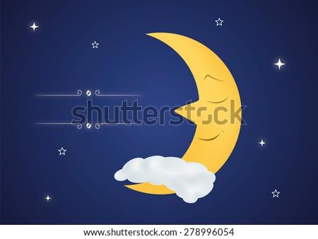 Fairytale sleeping moon - stock vector