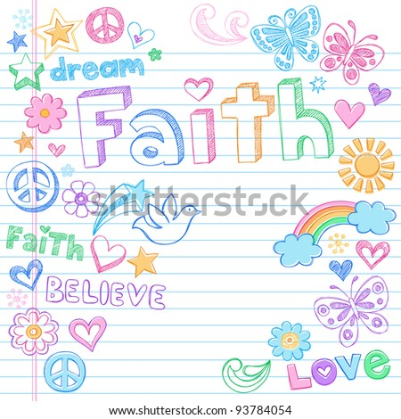 Faith Hand Drawn Back to School Style Sketchy Notebook Doodles Vector Illustration Design Elements on Lined Sketchbook Paper Background - stock vector