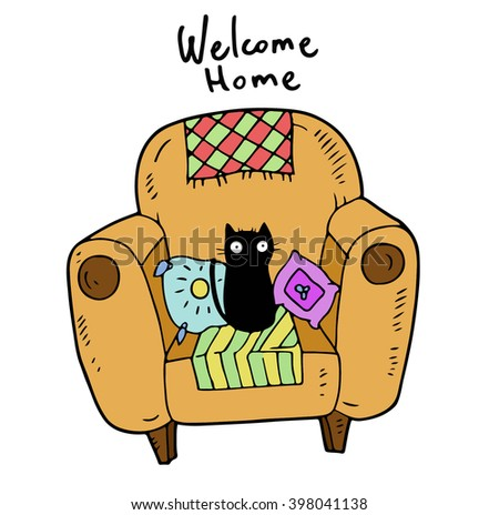 Faithful devotee kitten home alone sitting in the large armchair with a lot of colorful pillows and plaids and waiting for his master when he returns home - stock vector