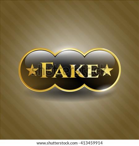 Fake golden badge - stock vector