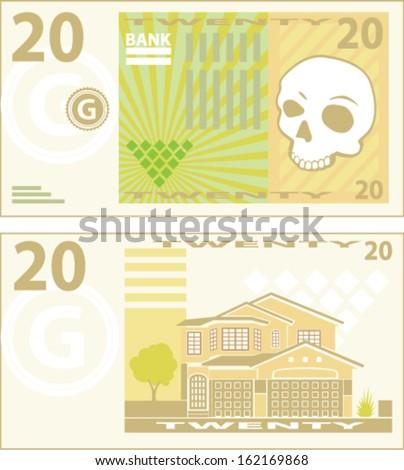 Fake made up 20 vector money bill - stock vector