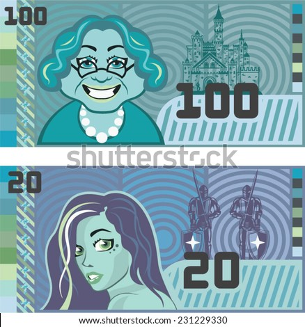 Fake Money Grandma 100 and Girl 20 vector - stock vector