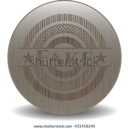 Fake wood emblem. Retro - stock vector