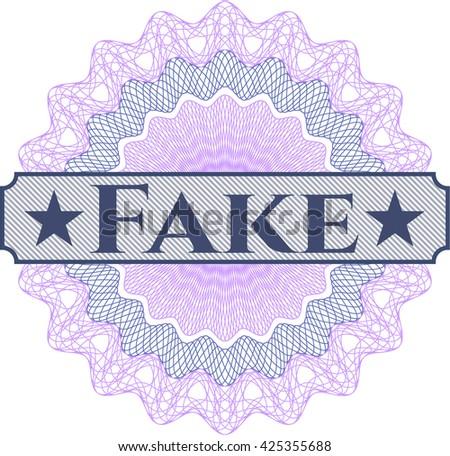 Fake written inside a money style rosette - stock vector