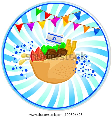 falafel (Israeli food) with the Israeli flag and decorations for independence day - stock vector