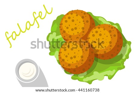 Falafel stuffed pita with vegetables. - stock vector