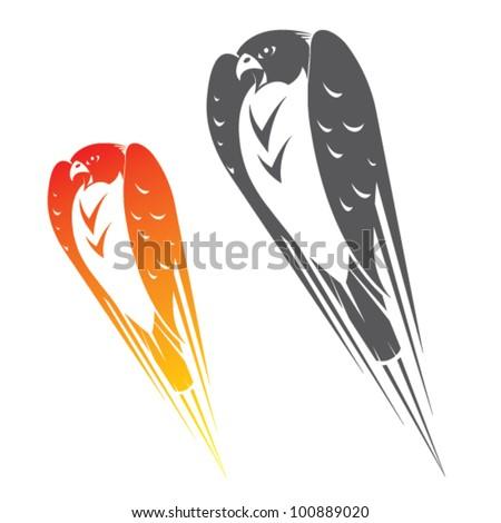 Falcon in flight - vector symbol - stock vector