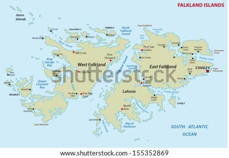 Falkland Islands Map Stock Vector 155352869 Shutterstock