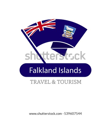 Falkland Islands The Travel Destination logo - Vector travel company logo design - Country Flag Travel and Tourism concept t shirt graphics - vector illustration