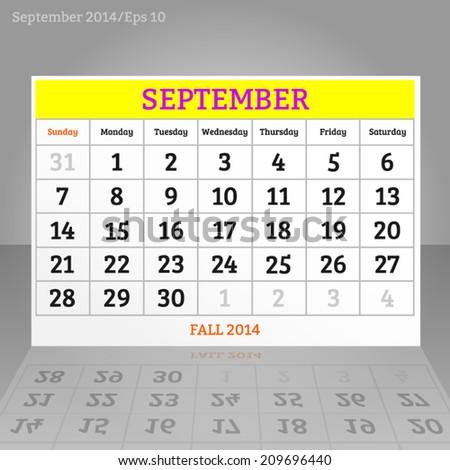 Fall-autumn october calendar 2014 eps10 - stock vector