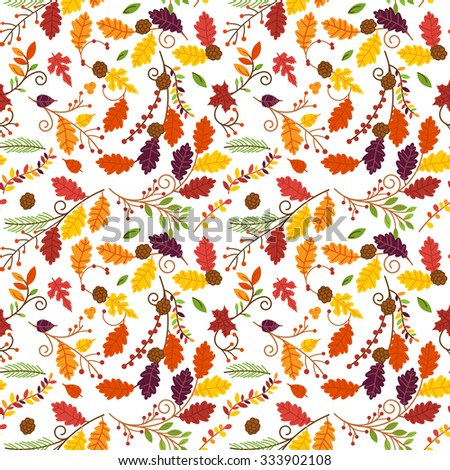 Fall, Autumn or Thanksgiving Vector Flower Pattern - Seamless and Tileable - stock vector