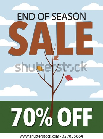 Fall end of season sale with tree and leaves against blue sky and clouds - stock vector